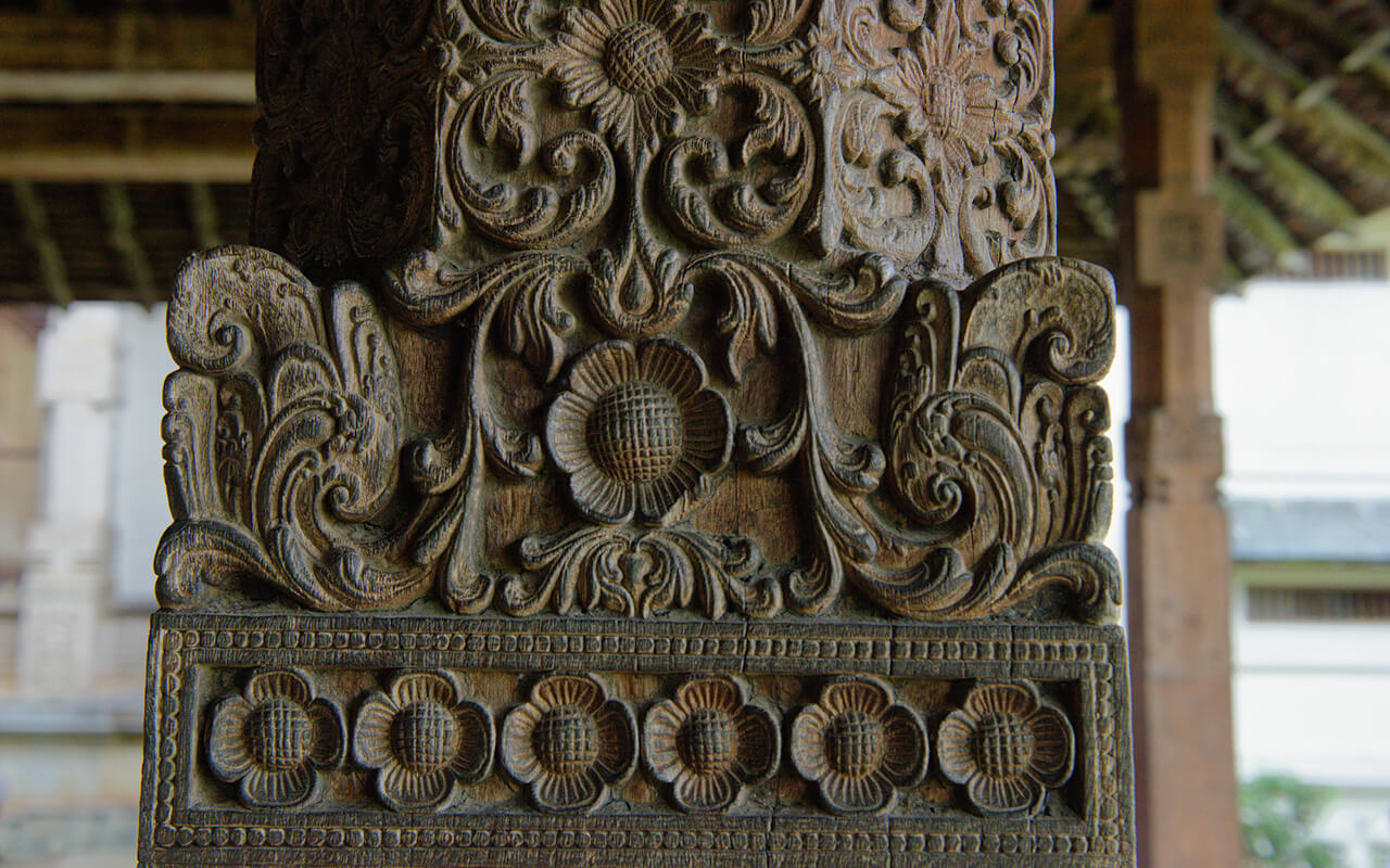 Carved wooden beam at the Royal Hall within the Temple of Tooth in Kandy Sri Lanka