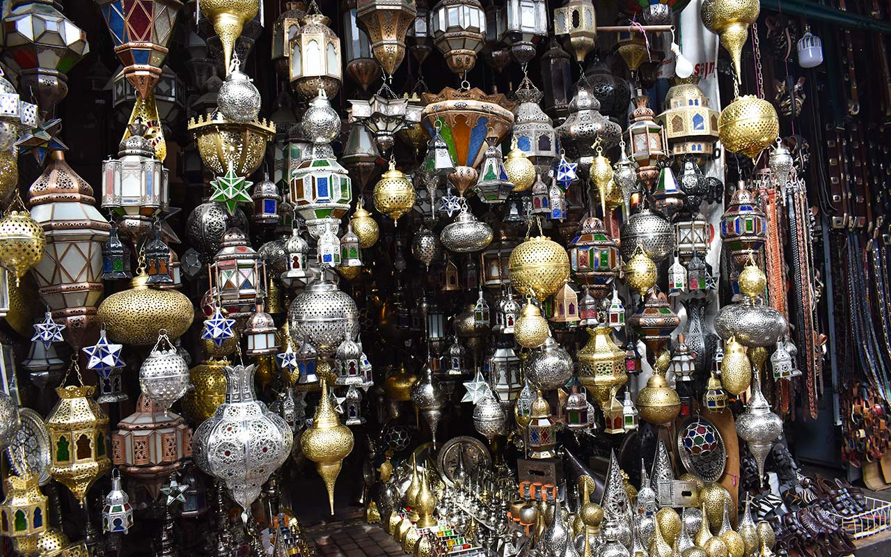 Brass lamps are one of the many things to buy in Morocco