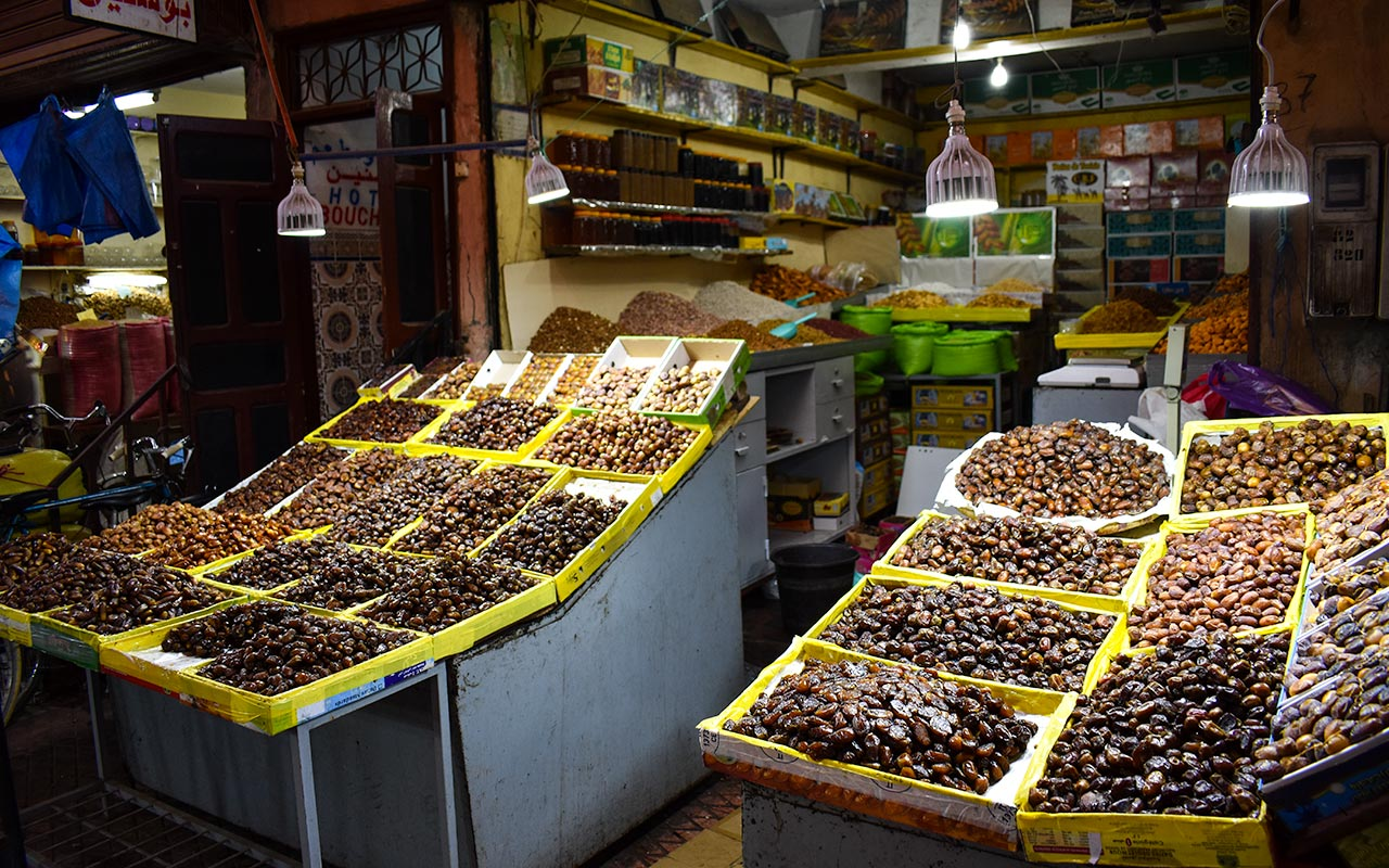 While shopping in Morocco, try some olives and dates as treats