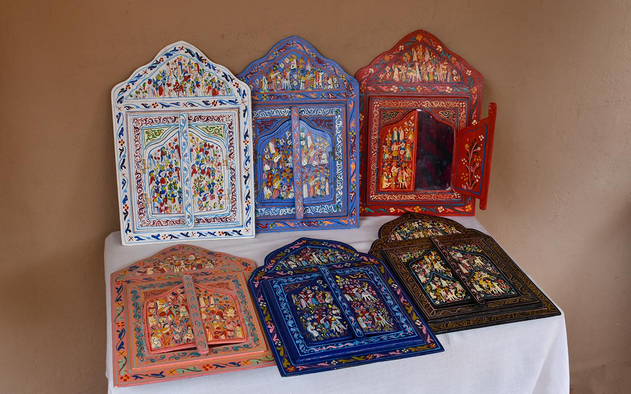 For your home decor, you can buy painted wood in Morocco