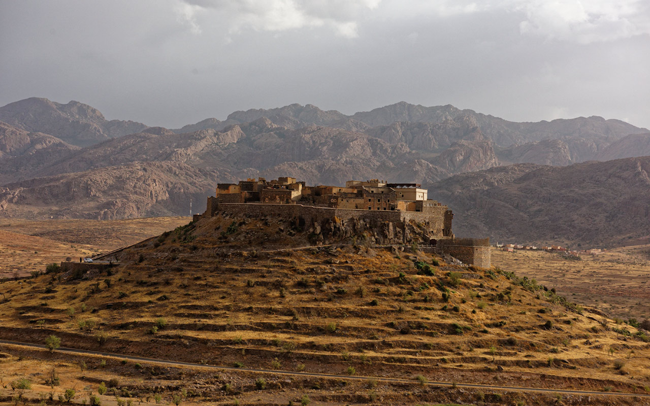 A fortified village along the side of the roads in Morocco