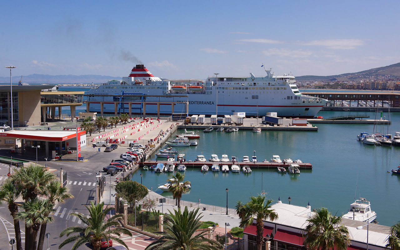 Ferry arriving at Melilla, a spanish enclave of Morocco