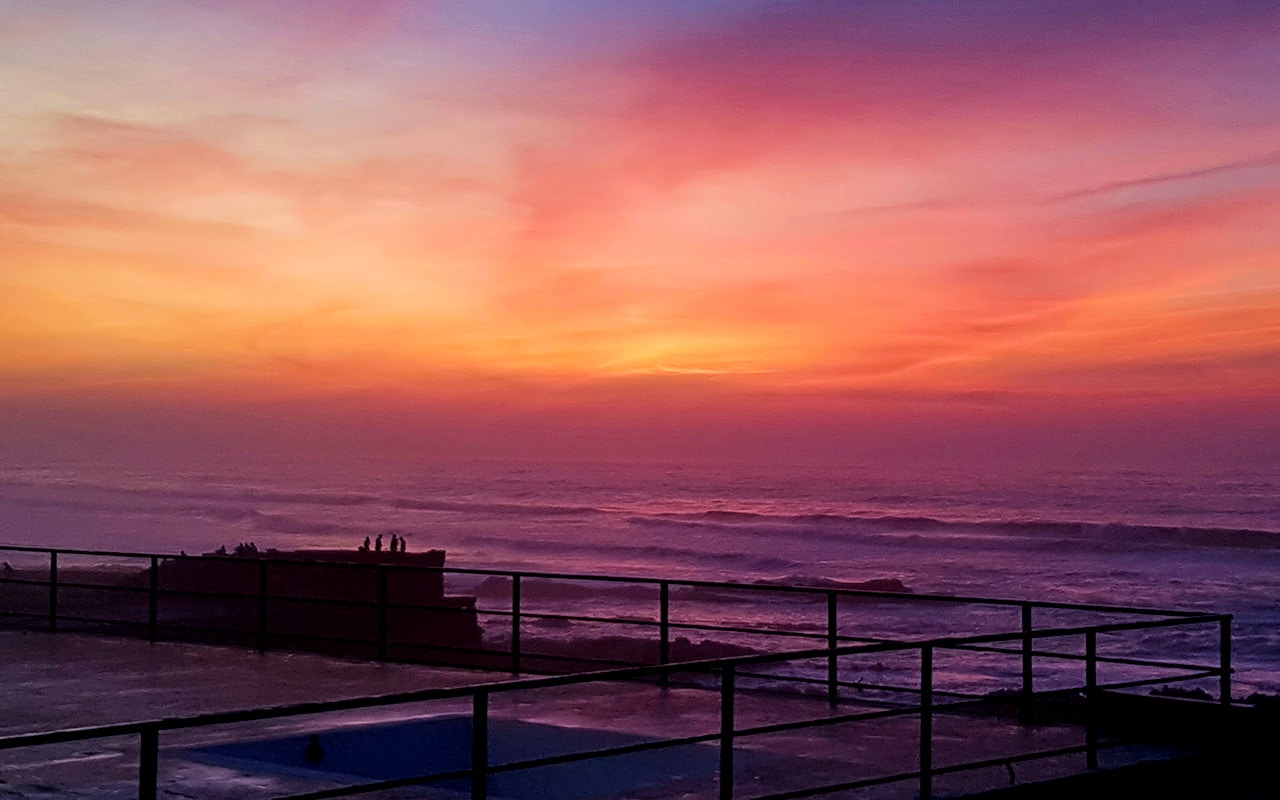 The sunset on Morocco Atlantic Coast in Casablanca has some beautiful colours