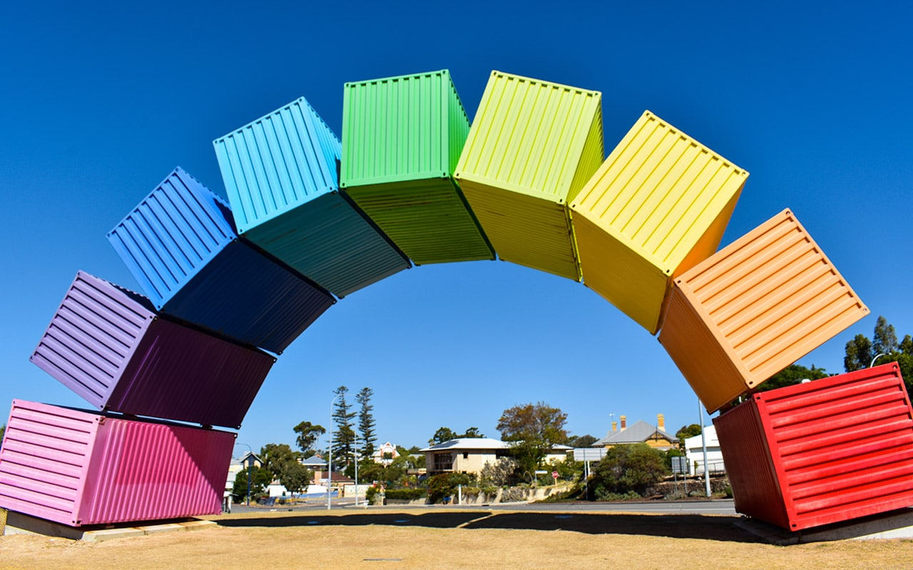 The Rainbow Containers will greet you when you arrive in Fremantle