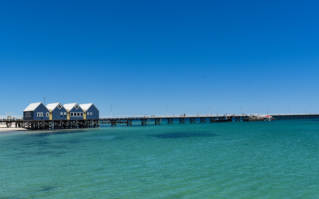 The famous Busselton Jetty from the beach