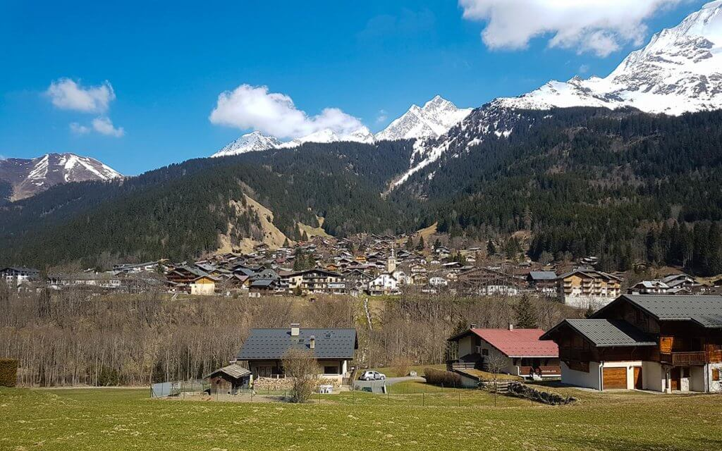 The village of Les Contamines, just under the mountains