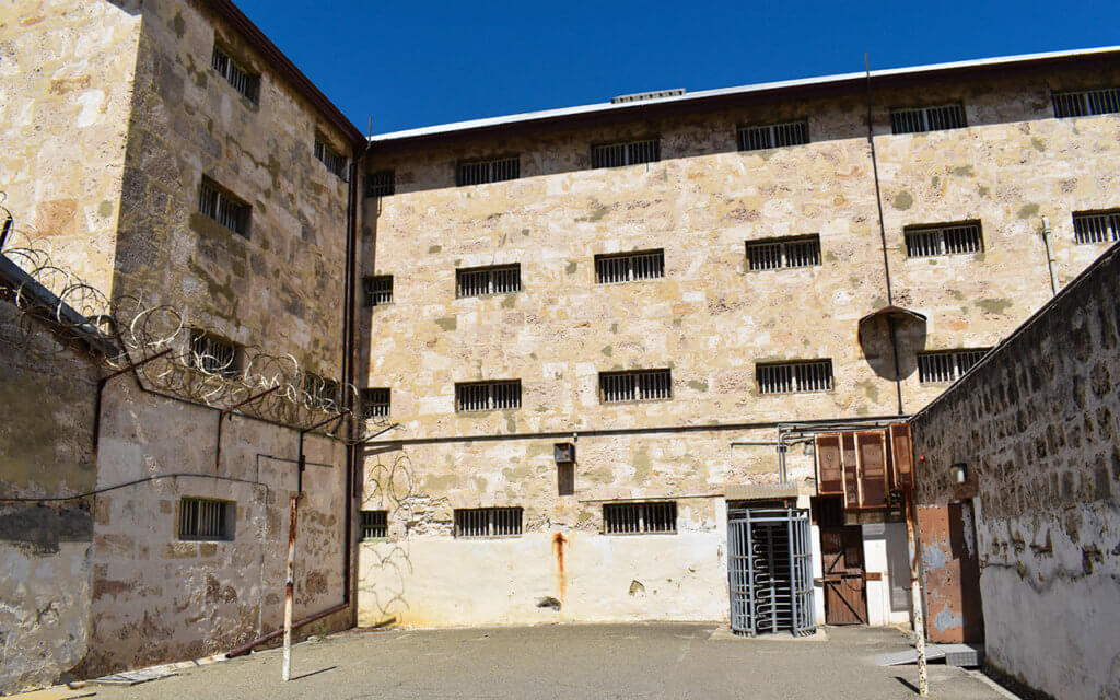Fremantle Prison has several exercise yards, some without any shade